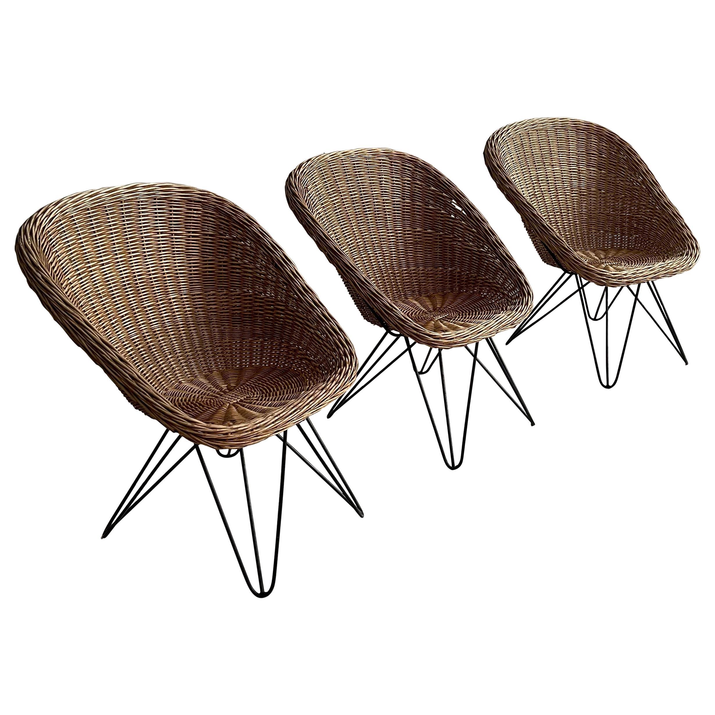 Wicker Lounge Chairs by Sonnet, Austria, 1950s