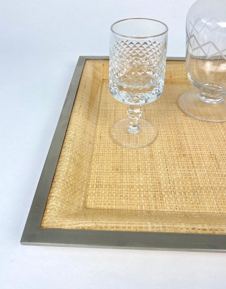 Wicker Lucite Serving Tray Metal Frame by Janetti, Italy, 1970s For Sale 4