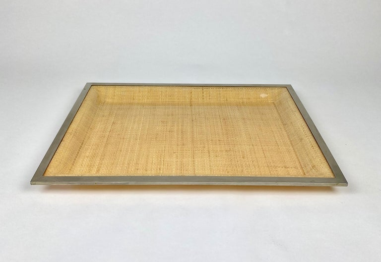 Serving tray in Lucite wicker and metal frame by Janetti Roma Firenze (original label attached on the back), Italy, 1970s.
