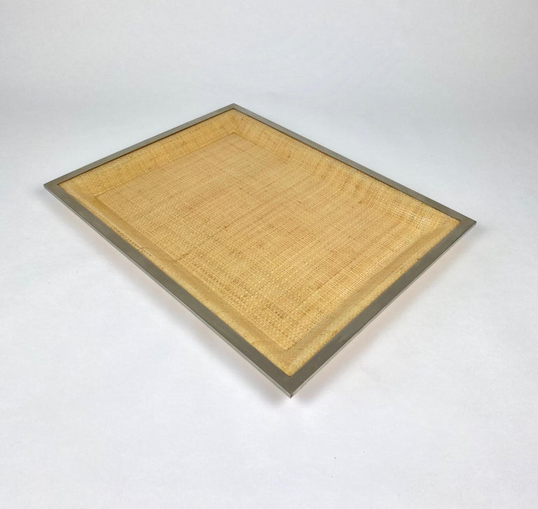 Mid-Century Modern Wicker Lucite Serving Tray Metal Frame by Janetti, Italy, 1970s For Sale