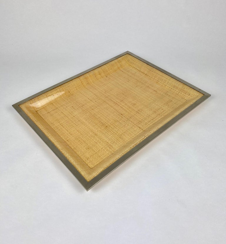 Italian Wicker Lucite Serving Tray Metal Frame by Janetti, Italy, 1970s For Sale