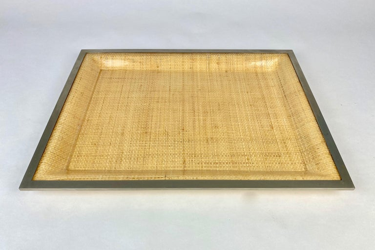 Wicker Lucite Serving Tray Metal Frame by Janetti, Italy, 1970s In Good Condition For Sale In Rome, IT