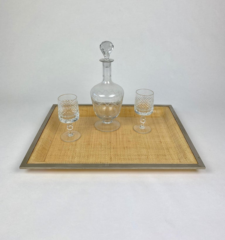 Wicker Lucite Serving Tray Metal Frame by Janetti, Italy, 1970s For Sale 1
