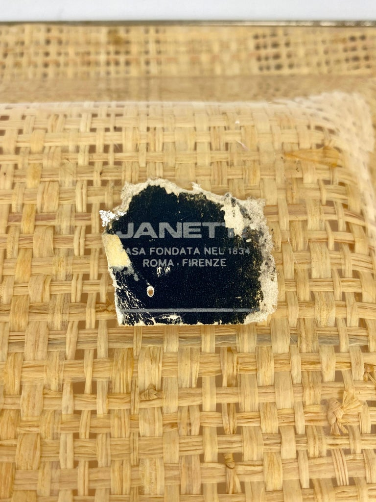 Wicker Lucite Serving Tray Metal Frame by Janetti, Italy, 1970s For Sale 3