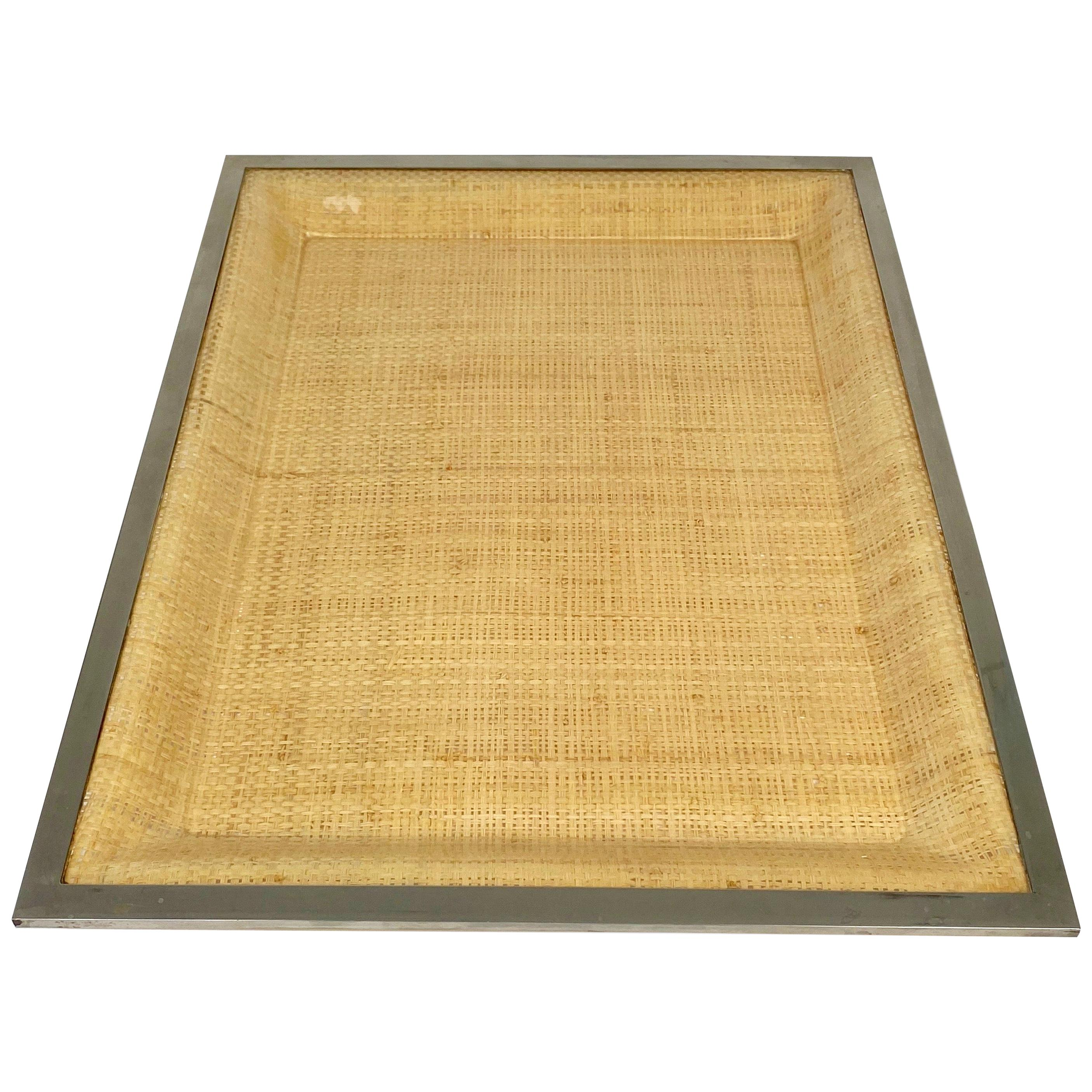 Wicker Lucite Serving Tray Metal Frame by Janetti, Italy, 1970s
