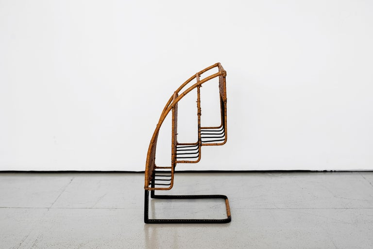 French Wicker Magazine Rack Attributed to Jacques Adnet For Sale