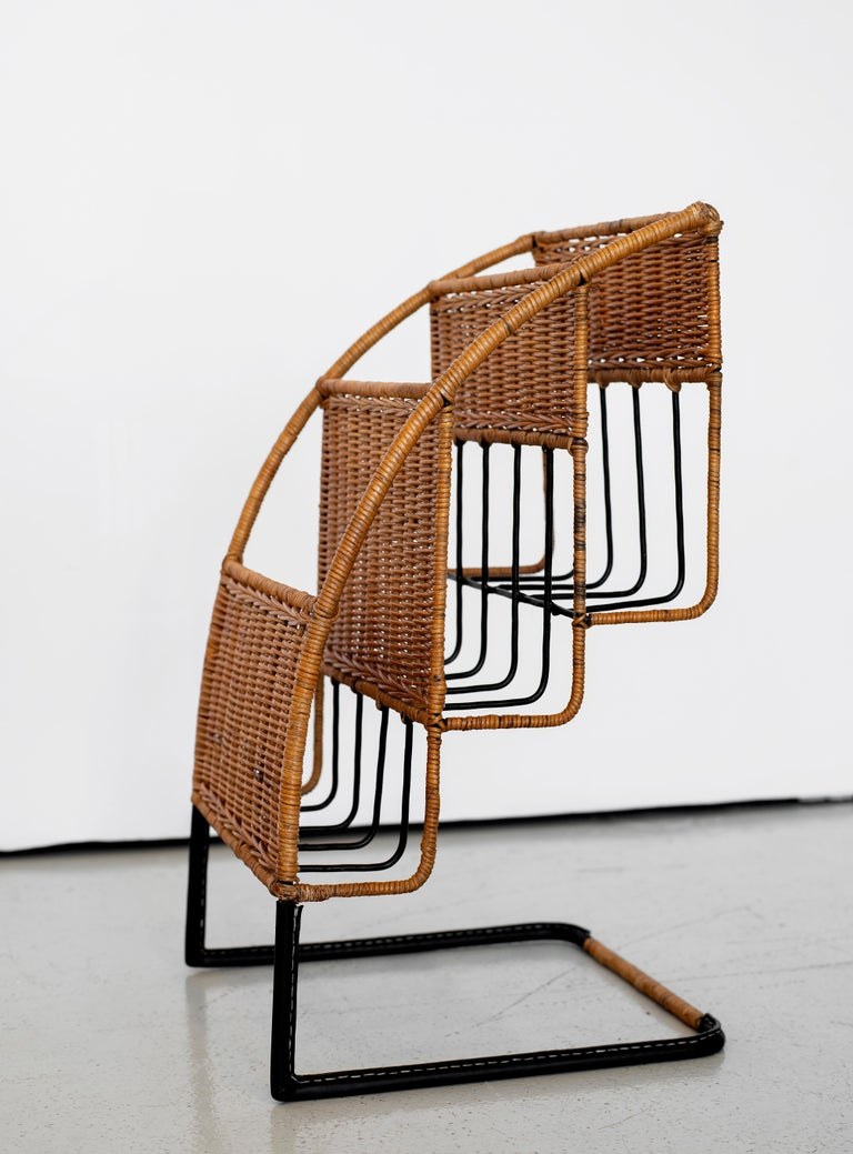 Wicker Magazine Rack Attributed to Jacques Adnet For Sale 1