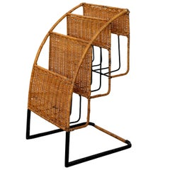 Wicker Magazine Rack Attributed to Jacques Adnet