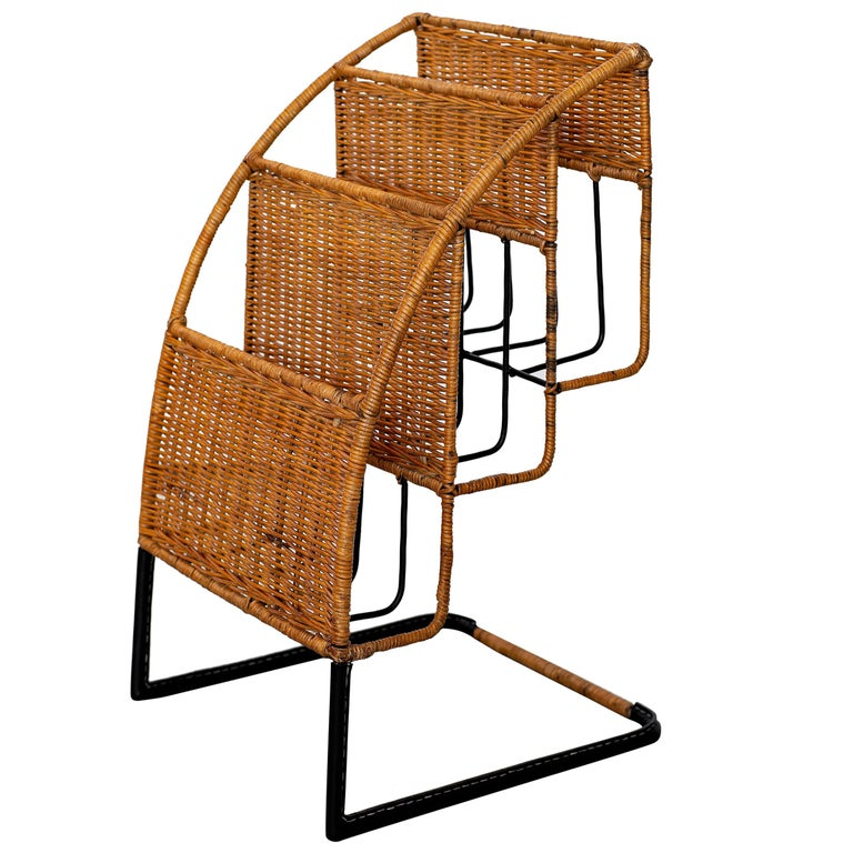 Wicker Magazine Rack Attributed to Jacques Adnet For Sale