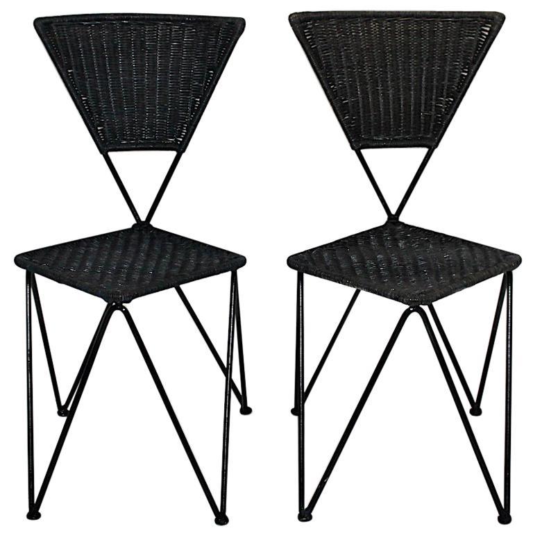Wicker Metal Vintage Dining Chairs or Chairs Black Blue Sonett Vienna circa 1950