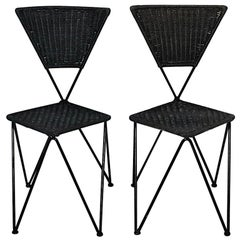 Wicker Metal Vintage Dining Chairs or Chairs Black Blue Sonett Vienna circa 1950