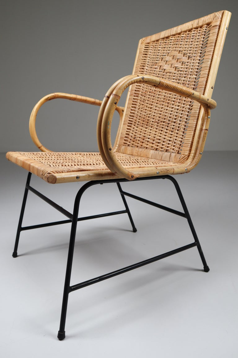 Mid-Century Modern Wicker Midcentury Armchair Designed and Produced in France, 1960s For Sale