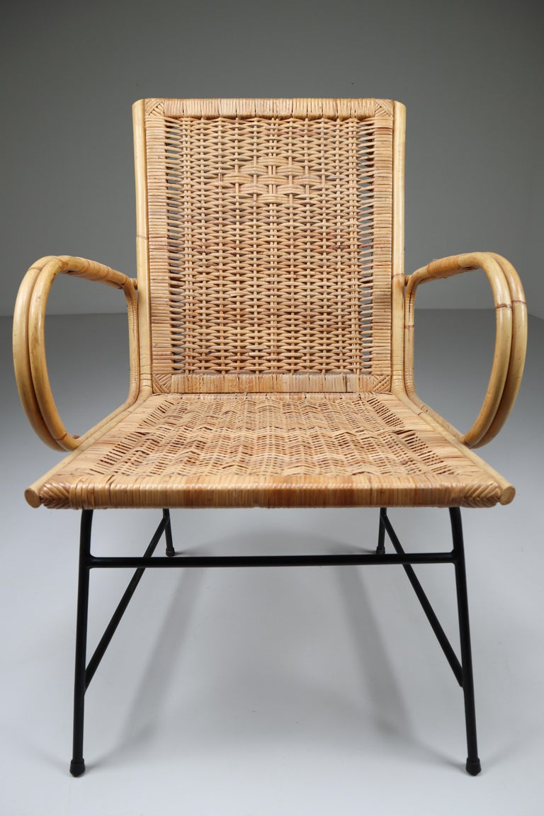 French Wicker Midcentury Armchair Designed and Produced in France, 1960s For Sale