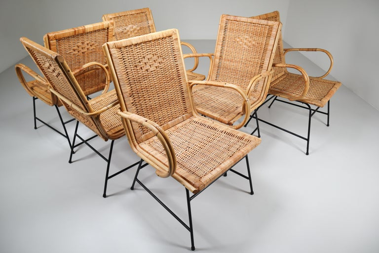 20th Century Wicker Midcentury Armchair Designed and Produced in France, 1960s For Sale