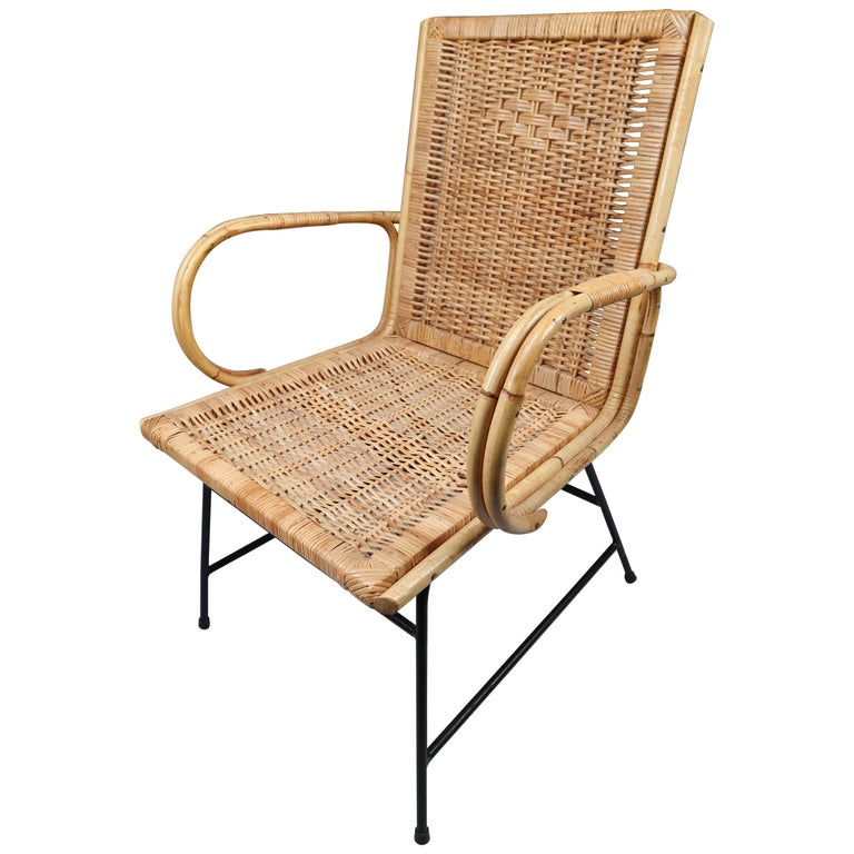 Wicker Midcentury Armchair Designed and Produced in France, 1960s For Sale