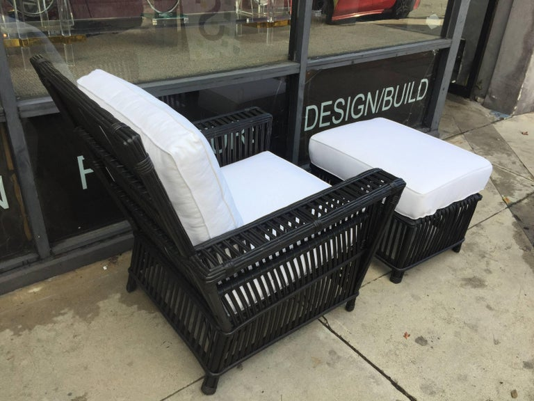 Contemporary Wicker or Bamboo Patio Chairs and Ottomans Upholstered in White Canvas For Sale