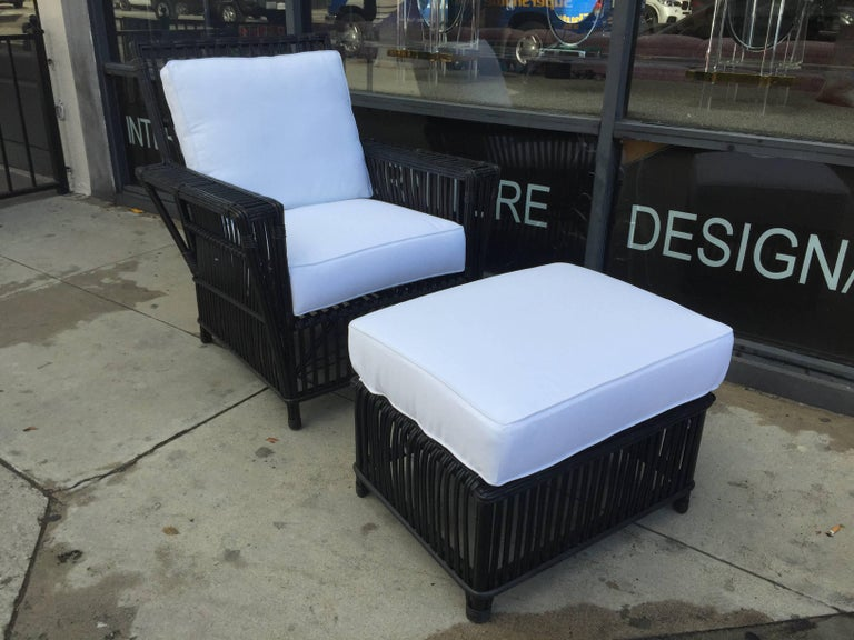 Wicker or Bamboo Patio Chairs and Ottomans Upholstered in White Canvas For Sale 2