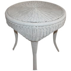 Wicker Painted Round Side Table
