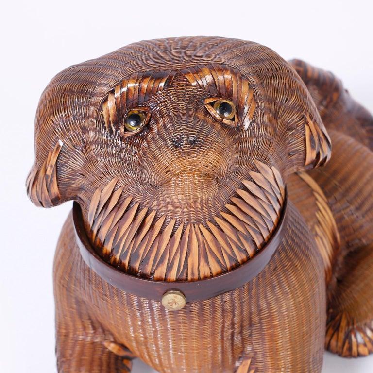 Hand-Woven Wicker Pekingese Dog Box For Sale