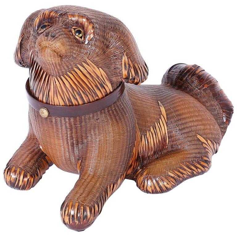 Wicker Pekingese Dog Box For Sale
