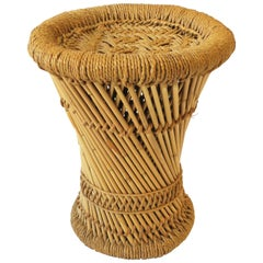 Wicker Pencil Reed Stool, Small