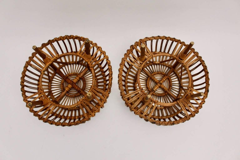 Mid-Century Modern Mid Century Modern Rattan Poufs Franco Albini Style Italy 1950s Set of Two For Sale