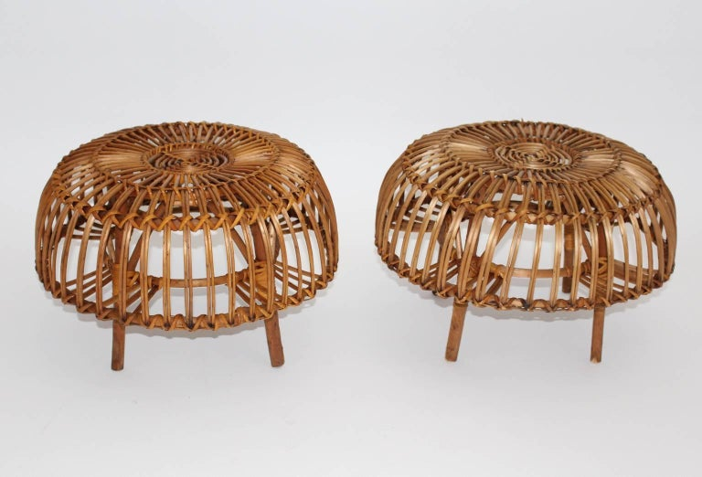 Mid Century Modern Rattan Poufs Franco Albini Style Italy 1950s Set of Two In Good Condition For Sale In Vienna, AT