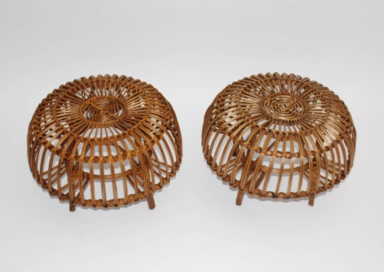 20th Century Mid Century Modern Rattan Poufs Franco Albini Style Italy 1950s Set of Two For Sale