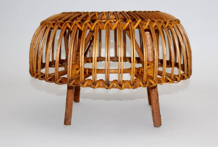 Mid Century Modern Rattan Poufs Franco Albini Style Italy 1950s Set of Two For Sale 1