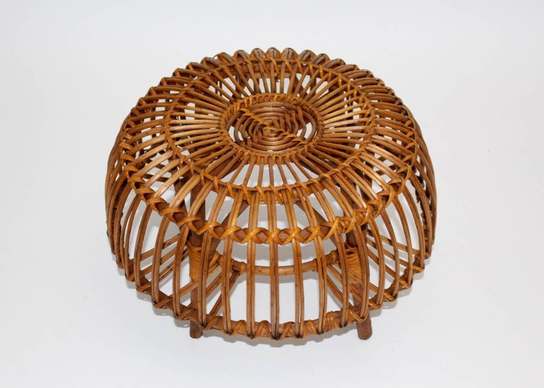 Mid Century Modern Rattan Poufs Franco Albini Style Italy 1950s Set of Two For Sale 2