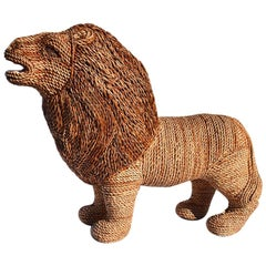 Wicker Raffia Lion Animal Woven in the Manner of Mario Torres Lopez