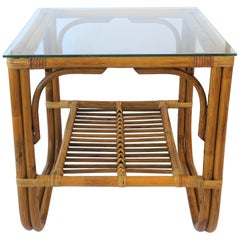 Wicker Rattan and Glass Square End Table