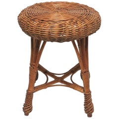 Wicker Rattan and Wood Stool