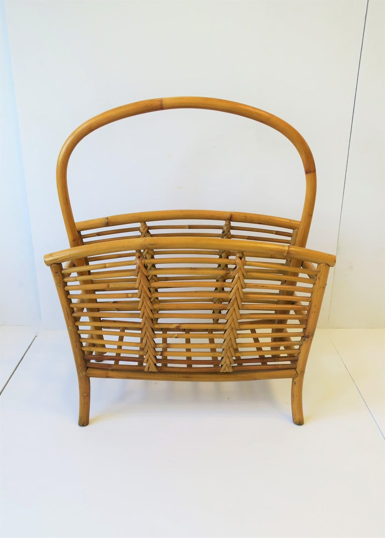 Wicker Rattan Bamboo Magazine Rack For Sale 7