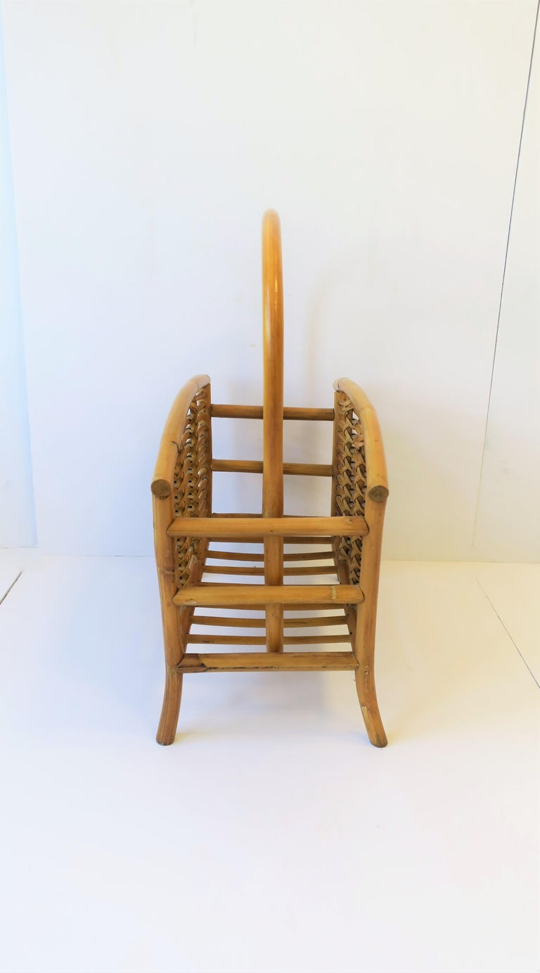 Wicker Rattan Bamboo Magazine Rack For Sale 8