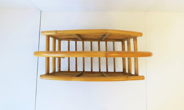 Wicker Rattan Bamboo Magazine Rack For Sale 9