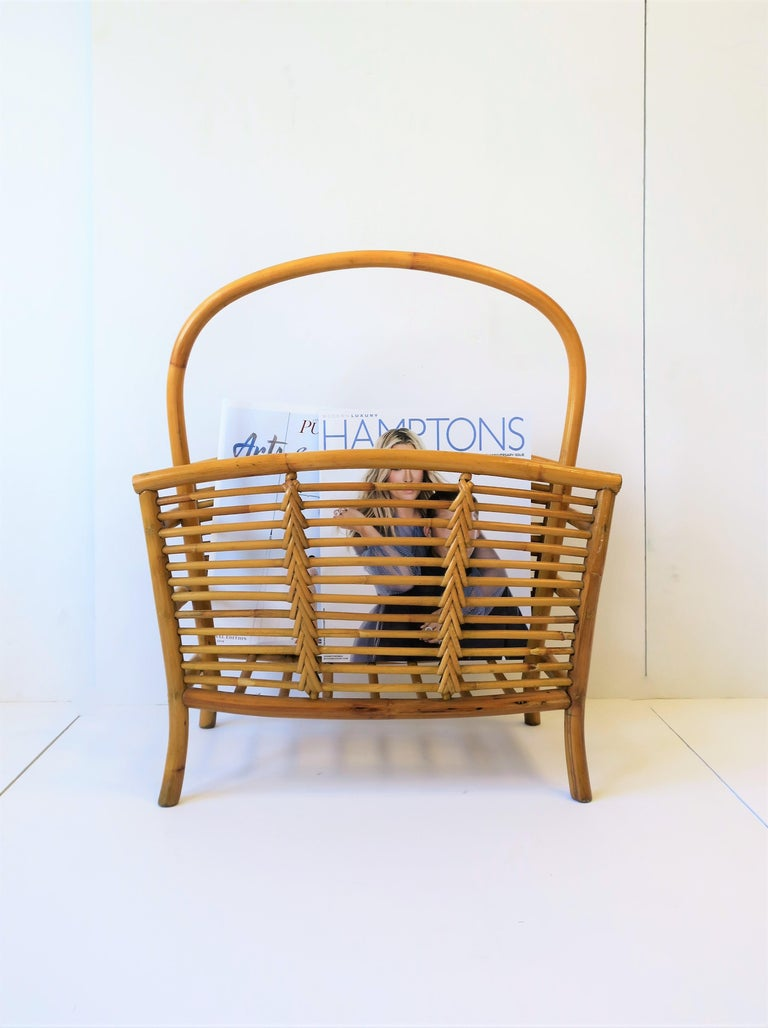 Wicker Rattan Bamboo Magazine Rack For Sale 1