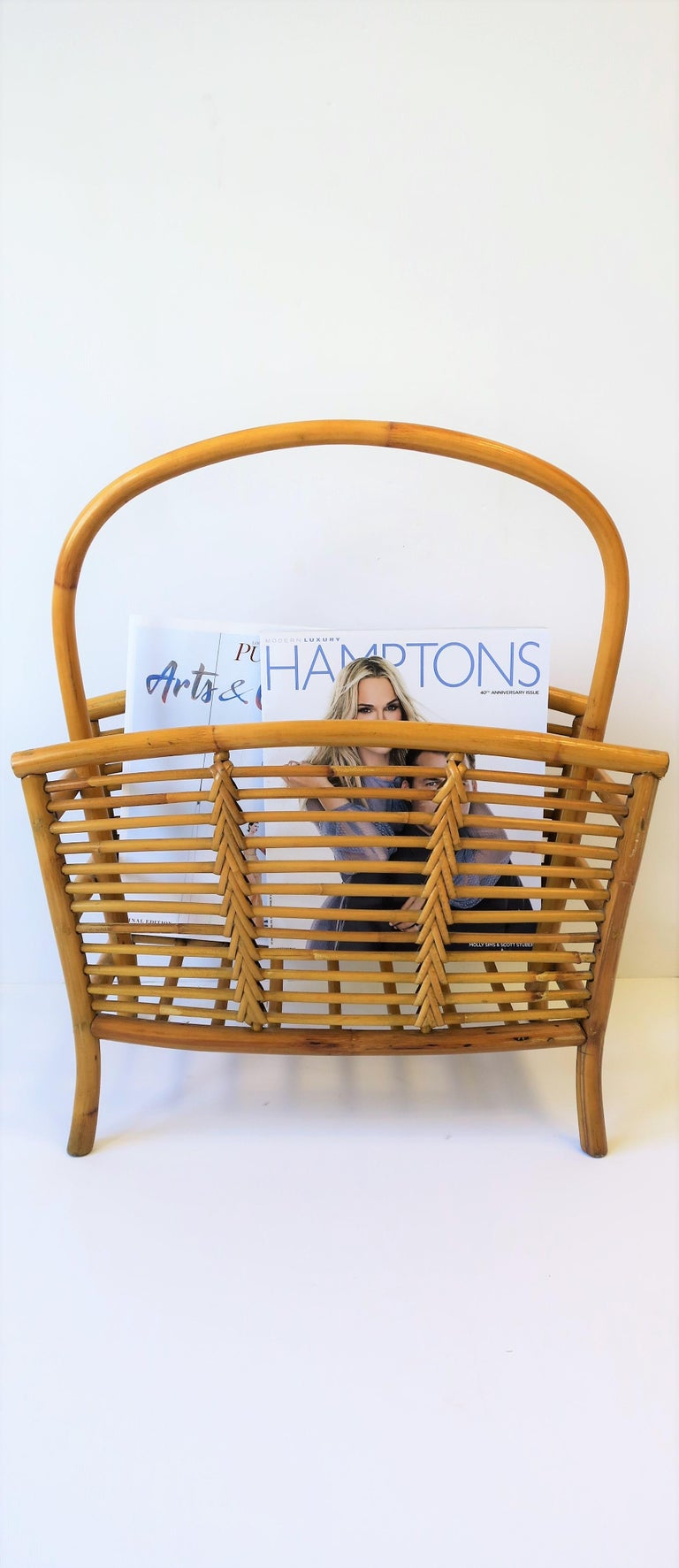 Wicker Rattan Bamboo Magazine Rack For Sale 2