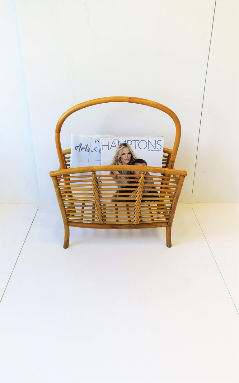 Wicker Rattan Bamboo Magazine Rack For Sale 4