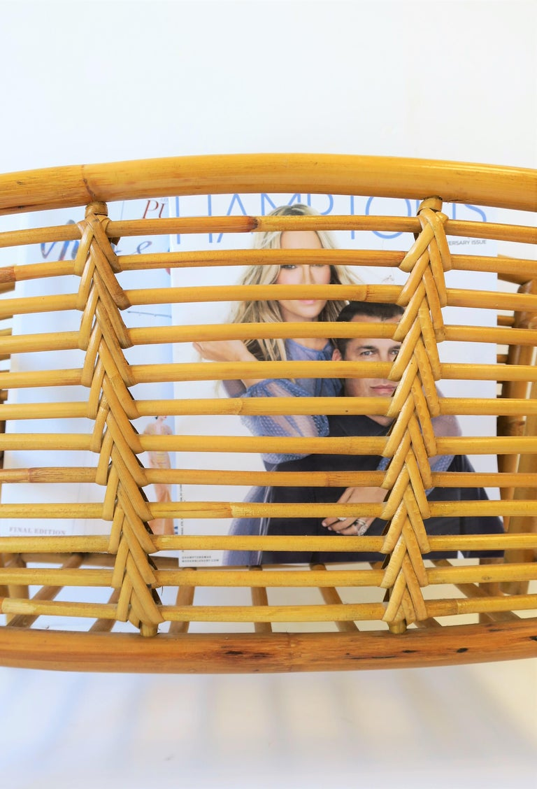 Wicker Rattan Bamboo Magazine Rack For Sale 5