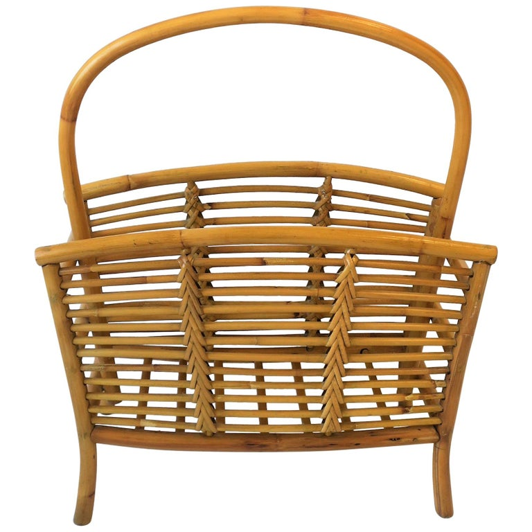 Wicker Rattan Bamboo Magazine Rack For Sale