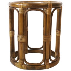 Wicker Rattan Bentwood Side or Drinks Table with Glass Top