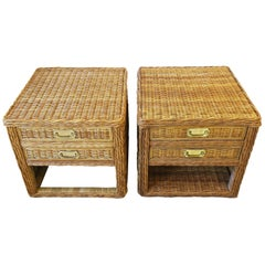 Wicker Rattan End Tables or Nightstand Tables