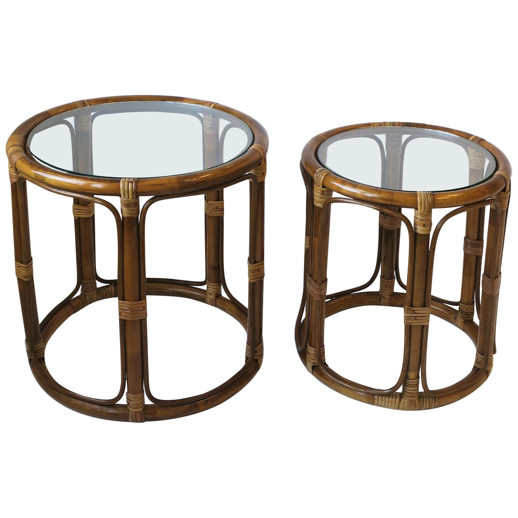 Wicker Rattan Nesting Side Cocktail Tables, Set of 2