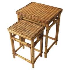 Wicker Rattan Nesting Side Tables, Set of 2