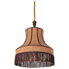 Rattan Wicker Pagoda Pendant Hanging Lamp with Fringe, France, 1960s