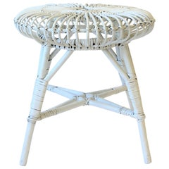 Wicker Rattan White Stool or Side Table in the Style of Franco Albini