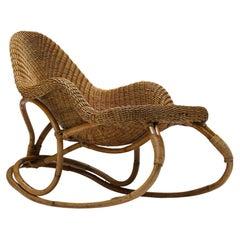Wicker Rocking Chair Art Nouveau, France, Victor Horta, Organic - 1905