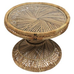 Wicker Round Side or Drinks Table Attributed to Emmanuelle Peacock
