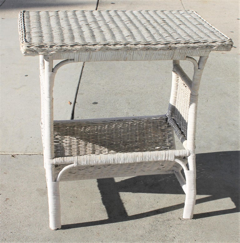 Adirondack Wicker Side Table in Original White Painted Surface For Sale